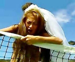Brunette Asian bride fucked on the court