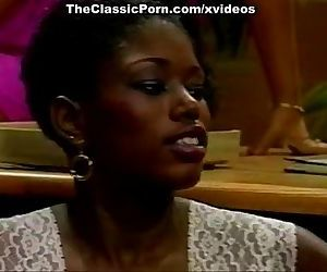 Ebony Ayes, Billy Dee, Jon Martin in retro porno clip with crazy group orgy
