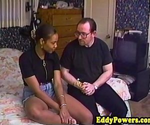 Vintage ebony amateur bouncing on hard cock