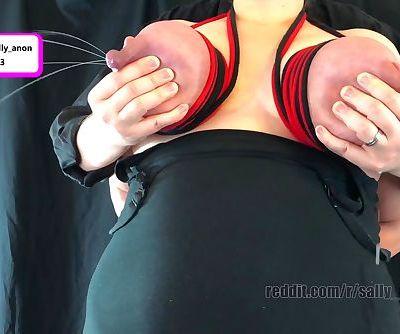 lactating milf cupcake rope harness on giant boobs multiple milk sprays