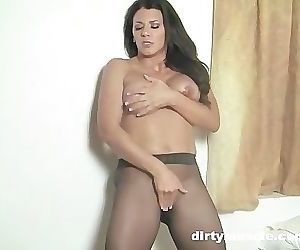 Leena Gets Off in Sheer Pantyhose