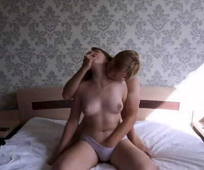 Russian Girl Cums from Cooney and Takes a Dick and Cums Again. Panties Masturbation