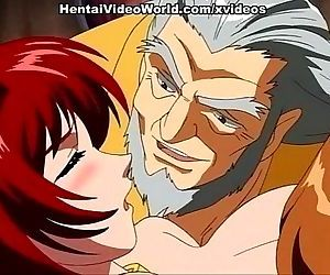 Hot anime redhead enjoys sex toy..