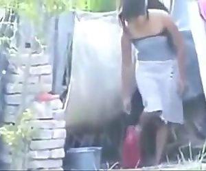 Indian hot village girl bathing outside, - 10 min
