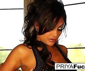 Dining room fun with sexy Priya Rai and a golden vibrator 2 min HD+