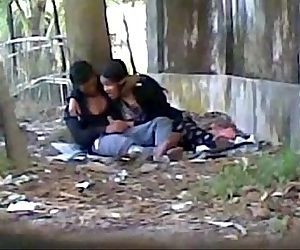Desi cute indian lover sucking big cock in public park - 3 min