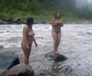 Two Desi Indian MILFs nude bath on river