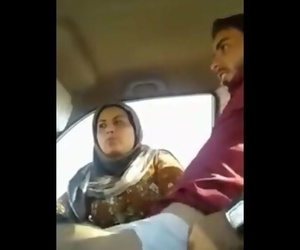 Indian Muslim Aunty having Fun in Car