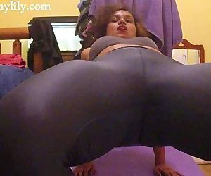 South Indian girl exercising in her yoga pants - 10 min HD