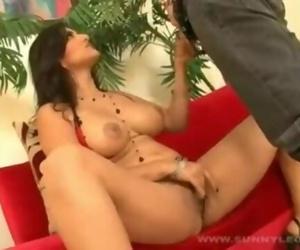 Sunny Leone - Fucked Hard On Red Sofa
