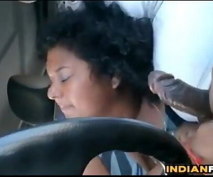 Fat Indian Gives A Blowjob In The Car 8 min