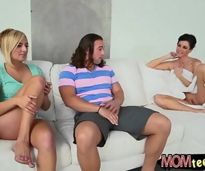 Kate England and India Summer threesome session on sofa 7 min 720p