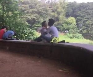 desi gf bf kissing garden love