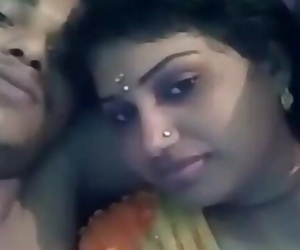Indian Husband & Wife Kiss and boob pressing
