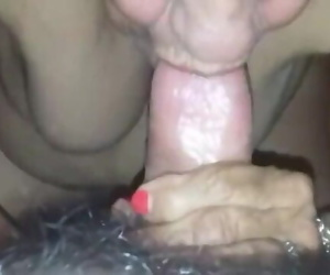 Grandma rubbing her pussy with my cock juce after super blowjob