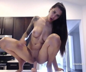 Kitchen Riding - Brunette Alexis Zara Rides So Fucking Sexy