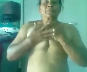 Punjabi old lady having sex with young lover in sexy style