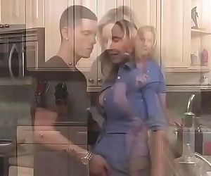 hot milf ,Excited son seduces her sexy mom in the kitchen 8 min
