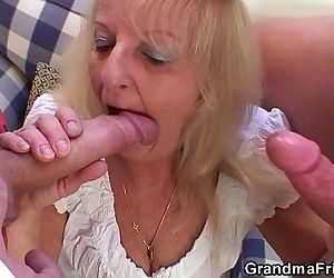 Party 3some with boozed blonde granma - 6 min HD