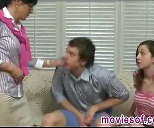 Strict stepmom caught her stepdaughter blowing her boyfriend - 5 min