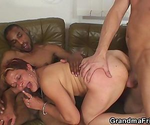 Granny swallows two cocks at once - 6 min HD