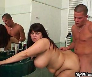 Chubby mother in law takes it in the bathroom - 6 min