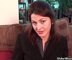 Business milf in pantyhose works hairy pussyHD