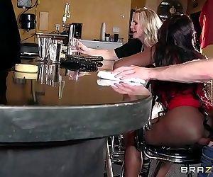 MILFs anal bar fucking