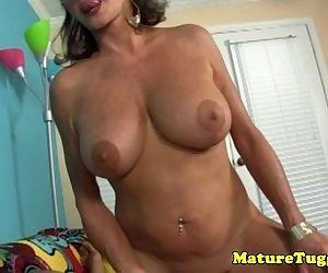 POV tugging granny with big massive fake tits - 5 min
