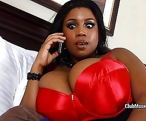 Black star with huge doozies rides white cock 5 min HD+