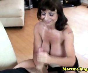 Busty granny giving tugjob - 6 min