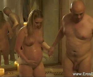 Pregnant Married MILF Explores Sex