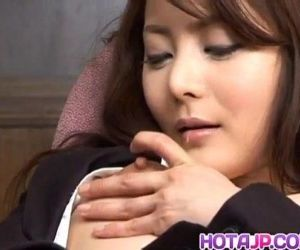 Mei Sawai Asian pleasures her hairy pussy with fingers at office - 10 min