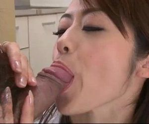 Japanese slut Maki Hojo sucks big cocks like a super whore - 5 min