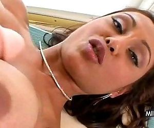 Horny milf fucked and jizzed on at home