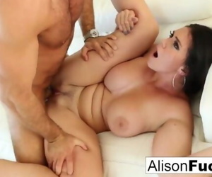 Beautiful Alison Tyler takes on a big cock and swallows it!