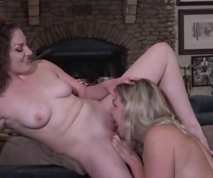 Amateur wives Mandy and Nikki masturbating and licking on the pool table
