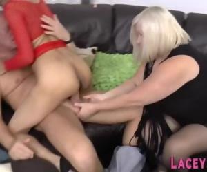 Granny and ebony milf in threesome