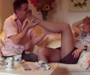 Sniffing Mature Nyloned Feet with Final Nylon Blowjob