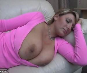 Pink Shirt Boobs out Sleeping - Demi Scott