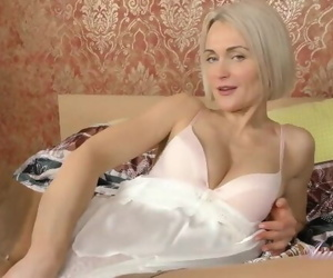 40yr old Super-MILF Aunt Natie Masturbates in Sexy Stockings and Lingerie
