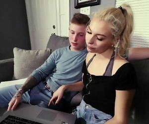 Blonde Slut Tutor Helps Teen with a CFNM Handjob