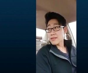 Cute korean guy jerkoff in car