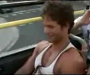 Guys wanks on bus for his buddies