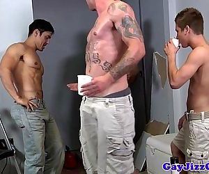 Alex Andrews gets two cocks in his mouthHD