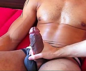Bachir a very sexy mixed guy get wanked his huge cock by me !