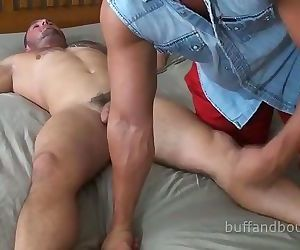 Huge Blasting Muscle Hunk Boud and Tickled - Ronnie J
