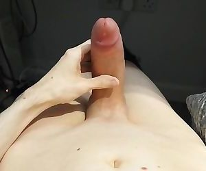 Large shaved uncut cock edging and leaking precum, then shooting huge load