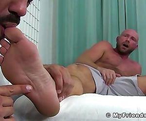 Bald gay Killian feet fucked by muscular doctor