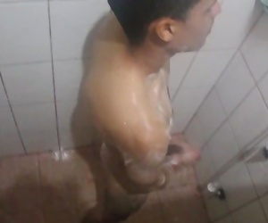 I spy my step bro masturbating in the shower